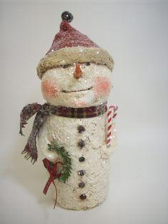 Sweet Paper Mache Folk Art Snowman.