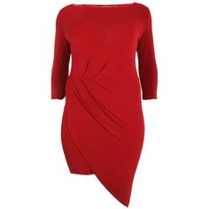 Boohoo Plus Nina Slinky Rouched Wrap Midi Dress | Boohoo ($35) ❤ liked on Polyvore featuring dresses, red ruched dress, wrap dress, rouched dress, ruched dress and boohoo dresses