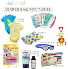 What To Pack in a Diaper Bag (this is for twins, but you can just cut down the amount of each item for one child) Baby Wise, Best Double Stroller, Diaper Bag Essentials, Expecting Twins, Wet Bag, How To Have Twins, Baby Makes, Twin Babies, What To Pack