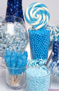 All sizes | Blue Candy Buffet! | Flickr - Photo Sharing! Deco Baby Shower, Baby Shower Table, Boy Baby Shower Themes, Baby Boy Shower, Blue Candy Table, Blue Candy Bars, Frozen Candy Table, Yellow Candy, Colorful Candy