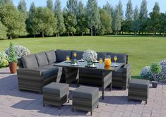 The Rattan Dining set is a fabulous 9 seater capacity rattan corner dining sofa set and bench. Add style to your outdoor space with this modern outdoor seating solution perfect for all the family. Made from premium PE rattan weave and featuring remo Corner Sofa Dining Set, Sofa Dining Table, Rattan Corner Sofa, Corner Seating, Rattan Sofa, Table Stools, Sofa Cushions, Rattan Garden Furniture Sets, Garden Sofa Set