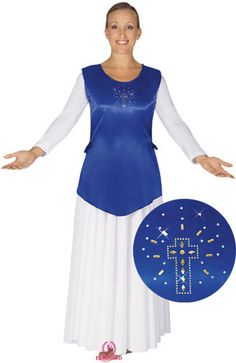 11786 V Cut Satin Ephod w/Cross Applique $22.50