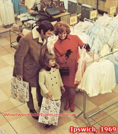 A family group shop the new extended fashion shop in the enlarged Woolworth superstore in Ipswich, Suffolk, UK in 1969