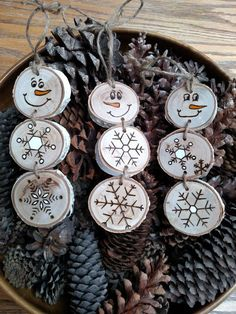 Cute handmade wooden ornaments for your Christmas tree. I love the burnt details. Wood Burned Snowman Christmas Ornaments -- Stacked Snowman Ornaments/Gift Tags on white birch wood, rustic, farmhouse Snowman Christmas Ornaments, Wood Christmas Tree, Wood Ornaments, Christmas Gift Tags, Christmas Diy, Christmas Decorations, White Christmas, Beaded Ornaments, Homemade Christmas