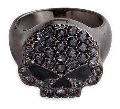 99413-14VW - Harley-Davidson® Womens Black Hematite Skull with Swarovski® Crystals Ring - Barnett Harley-Davidson®