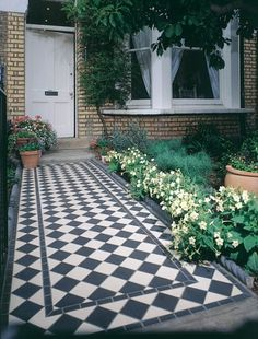 Tiled path with pretty border