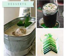 Bread and Irish Whiskey ice cream, Whiskey cake in a jar, Shamrock layer cake. Whoever this person is putting on this party, I want to GO!