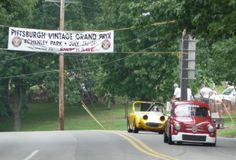 Alain Raymond crossing the finish line in P1 in his 1964 Fiat Abarth 1000TC Berlina Corsa at the 2011 #PVGP @TeamAbarth