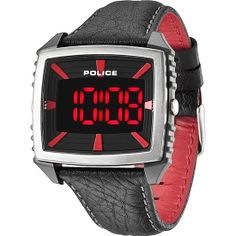 Police Mens Countdown Red and Black Leather Strap Watch. Stylish red and black digital watch with black leather straps from Police. Gents Watches, Watches For Men, Wrist Watches, Police Watches, Latest Watches, Perfect Timing, Digital Watch, Arm, Black Leather