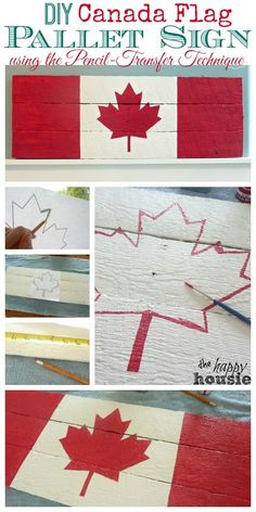 Canada Flag Pallet Sign on Dock Cleat Hanger {Boys' Room Progress DIY Canada Flag Pallet Sign using the Pencil Transfer Technique Tutorial at The Happy Housie Pallet Flag, Pallet Art, Pallet Signs, Diy Pallet Projects, Wood Signs, Projects To Try, Pallet Ideas, Palette Projects, Wood Flag