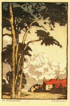 Sylvan G. Boxsius (1878-1941) At Winchelsea. Woodblock Print.