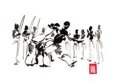 Encres : Capoeira – 474 [ #capoeira #watercolor #illustration]