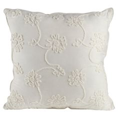 Bring a garden-chic pop of style to your sofa or favorite reading nook with this charming pillow, featuring a textural floral motif and piped edges....