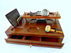 #vintagegift Vintage Dresser Valet Walnut Wood Accessory Caddy by GSaleHunter