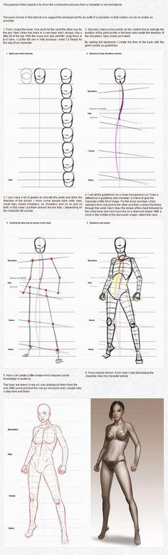 인체드로잉 자료/ 포즈 그리기/ 스텐딩 / 관절 그리기 자료 인체 삐꾸 안 나게 하기