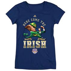 'Here Come The Irish' Women's BCS T-Shirt. This women's cap sleeve t-shirt features 'Here Come The Irish' on chest and BCS logo. 50% Cotton / 50% Polyester.