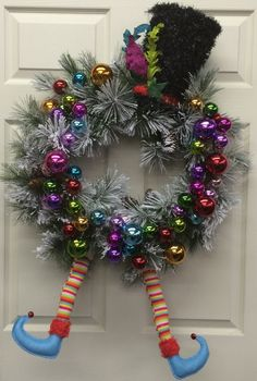 Fun whimsical winter door wreath. Christmas Snowman Elf Colorful