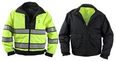 Reversible Hi-Visibility Yellow/Black Uniform Jacket - Police, Security, Guard