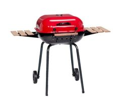Charcoal Grill in Red Rolling Backyard Grilling Outdoor Cooking Portable