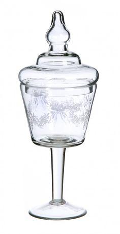 Barattolo calice in vetro decorato Blanc MariClò - VERRERIE - TAVOLA