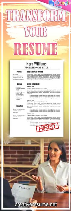 Explore unique and ready to use Google Docs resume template to create eye-catching and professional document for any industry. A professional resume template that is easy to edit in Google Docs. No Microsoft Word needed! You'll save time with this template, and ensure that your resume is unique. If you're looking to land the job of your dreams, this resume helps to showcase your skills and accomplishments in the best way possible. #resume #cv #lebenslauf #job #interview #career #rseumedesign Resume Help, Resume Tips, Resume Cv, Resume Examples, Job Resume Template, Creative Resume Templates, Cv Template, Google Docs, Paige Hathaway Workout