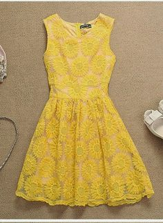 Cute Yellow Sun Flower Embroidered Summer Dress.