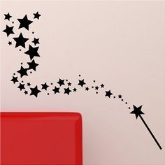 Magic Wand with Stars Wall Decal Sticker Removable Wall Graphic Vinyl Wall Art, Wall Decal Sticker, Wall Stickers, Machine Silhouette Portrait, Dancer Silhouette, Wand Tattoo, Diy Wand, Fairy Wands, Star Wall