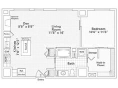 1 Bedroom, 1 Bath Historic Floor Plan of Property Eitel Building City Apartments. Eitel Building City Apartments with large closets, over-sized storage and spacious floor plans in downtown Minneapolis. Apartments for rent in Loring Park.