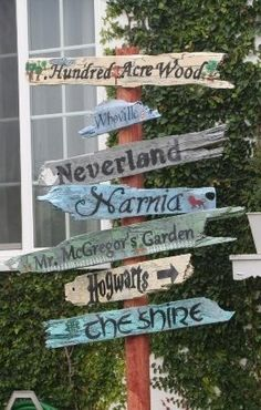 Literary Garden Sign - I would probably take out Whoville and Mr. McGregor's Garden and replace them.