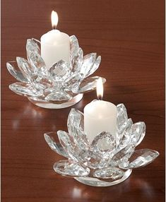 Votives in bloom. Lighting by Design Lotus blossoms brighten your home with warm, flickering candlelight and the resplendent shine of faceted crystal. A stunning pair for the dining room or holiday table. Lotus Candle Holder, Design Candle Holders, Candle Holder Set, Floating Candles Wedding, Candle Wedding Centerpieces, Holiday Centerpieces, Quinceanera Centerpieces, Centerpiece Ideas, Flower Centerpieces