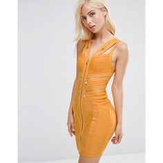 Forever Unique Marla Bandage Dress with Zip Details ($130) ❤ liked on Polyvore featuring dresses, yellow, bodycon dress, v neck bodycon dress, stretch dress, rayon dress and zip front dress