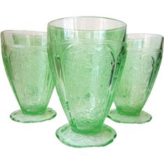 Set of 6 Depression Glass CHERRY BLOSSOM Green @rubylanecom #vintagebeginshereTumblers 8 oz 4 1/2' Scallop Foot