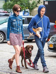 Special treatment! While the new addition rode comfortably in the crook of the 33-year-old producer's arm, their chocolate Labrador trotted along behind them on a leash being held by the Oscar-winning actress as they enjoyed a walk that culminated with a stop at a gourmet Mexican food truck