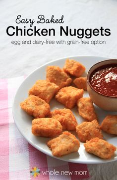 Need a delicious, quick and healthy meal? Try this Easy Baked Chicken Nuggets Recipe. They taste like you spent a TON of time in the kitchen, but they come together in a flash. Grain & Egg Free (with AIP and THM:S options) and they freeze well too! No more pink sludge nuggets from the fast food companies for sure!