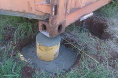 shipping container concrete footing