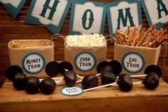 Themed treats at a Train Party.   See more party ideas at CatchMyParty.com. #trainpartyideas