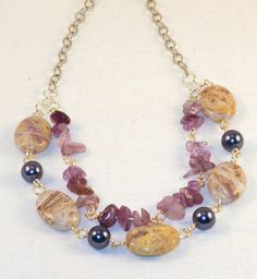 Purple Pearl Amethyst Necklace by PursuitofLight on Etsy, $24.00