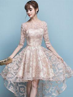 A-Line Bateau Lace Half Sleeves Asymmetry Homecoming Dress kleider Elegant Dresses, Pretty Dresses, Sexy Dresses, Beautiful Dresses, Evening Dresses, Short Dresses, Fashion Dresses, Dresses With Sleeves, Formal Dresses