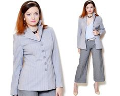 Vintage beautiful grey blazer with stripe pattern. The model on the pictures is size S/36 and 165 cm height. Please check measurements with your own to avoid problems with the size. Make sure you double the measurements where shown (*2):  Label size: S/36 Total lenght: 71.5 cm / 28.25 inches Sleeve lenght: 59.5 cm / 23.5 inches Shoulder to bottom: 62.5 cm / 24.75 inches Armpit to bottom: 41 cm / 16.25 inches Armpit to armpit: 46 cm *2 / 18.25 inches *2 Waist...