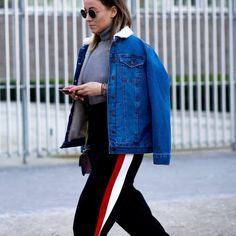 Athleisure street style with a sheering denim jacket, looks comfy! Street Style 17. Autumn Winter Fashion trends.