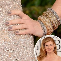 Connie Britton: Greige seems to be making a comeback. Connie Britton also polished on the neutral hue to go with her beaded gown.