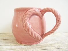 """Valentine Love""   Heart Coffee ~ Cup Mug Pink Rose Wheel Thrown. Hippie Hugs with Love, Michele ~♥~"