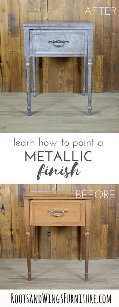 Now you can add your own visual interest with a show-stopping metallic furniture piece by painting one yourself!My metallic furniture finish is the way to do it. It's easy to add this metallic finish to furniture details – think stripes, drawers, insets, Laminate Furniture, Paint Furniture, Furniture Projects, Cool Furniture, Old World Furniture, Refurbished Furniture, Furniture Painting Techniques, Painting Tips, Metallic Furniture