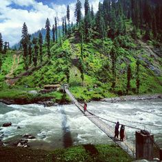 a #bridge on #Neelum #river.