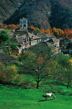 One of the most beautiful places in Greece, Zagori. It is a region and a municipality in the Pindus mountains in Epirus containing 46 picturesque villages known as Zagoria (or Zagorochoria or Zagorohoria). Albania, Mykonos, Montenegro, Places Around The World, Around The Worlds, Places In Greece, Macedonia, Greece Travel, Countries Of The World