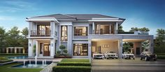 Contemporary house exterior - Luxury Villa Fully Reflected Glory + Plan Home Design Luxury Homes Dream Houses, Luxury House Plans, Dream House Plans, House Layout Plans, House Layouts, Modern Villa Design, Home Design, House Plans Mansion, Modern House Facades