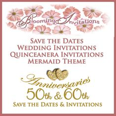 Save the Dates, Invitations, & Anniversary by BloomingInvitations 50th Anniversary Invitations, Winter Wedding Invitations, Save The Date Invitations, Golden Anniversary, Quinceanera Invitations, Save The Date Magnets, Dates, Destination Wedding, Bloom