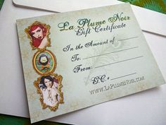 La Plume Noir Exclusive Etsy Store Gift Certificate good for 100 Dollars