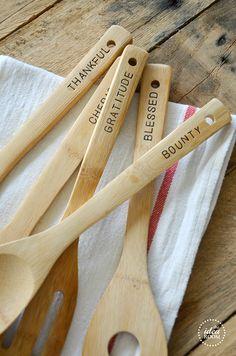 metal stamped wooden spoons