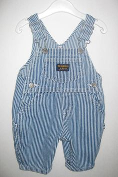 Vintage OSH KOSH B'Gosh OVERALL Pants, Blue White Engineer Stripe, Baby Boy size 3-9 Months by curiouskitty, $9.50